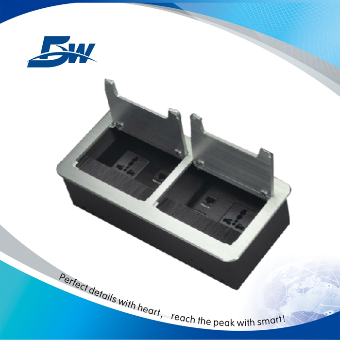 Multifunction Electrical Desk Switch Socket/Table Power Outlet Box With Aluminum Brush Cover