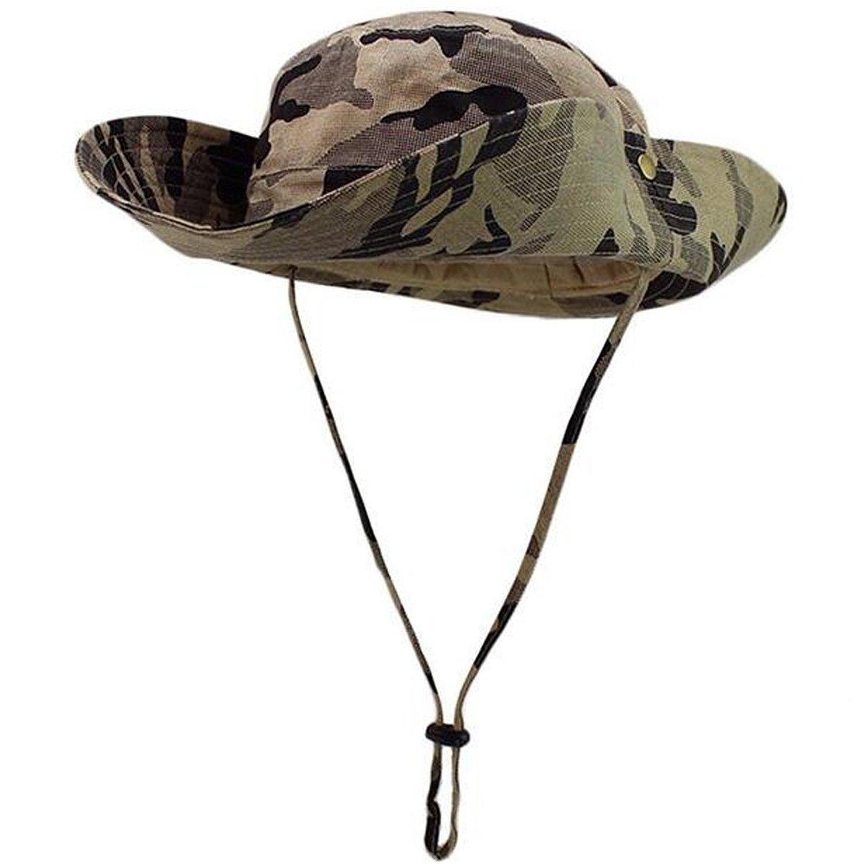 4b19ad03170 Lanzom® Wide Brim Outdoor Sun Cap Camouflage Bucket Mesh Fishing Hat UPF50+