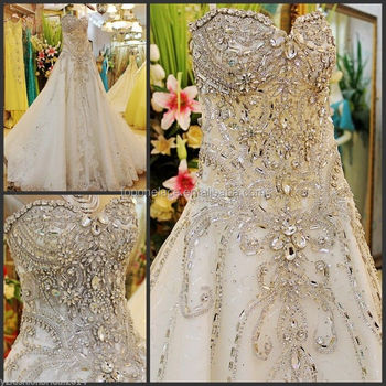 Beads Crystal Sexy Diamond Wedding Dresses Beaded Fabrics Lace For Bridal 3d Tulle Design