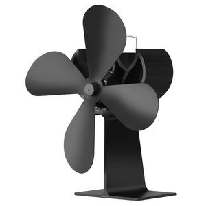 Stove Fan Heat Powered Fireplace Eco Fan 4 blade black