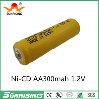 1.2v aa 300mah rechargeable NICD battery in industrial package in flat top point top