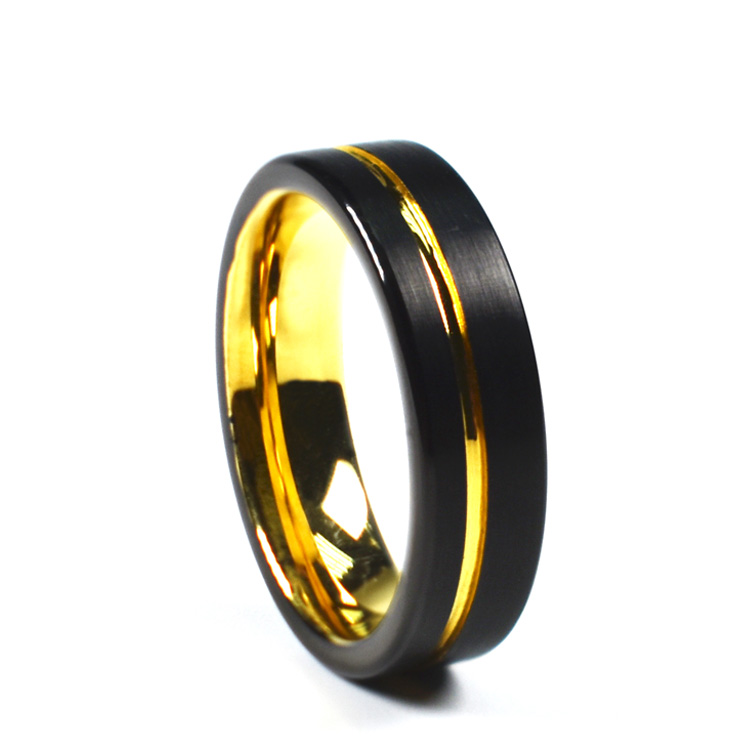Mens 8mm Genuine Tungsten Ring Gold Plated Men's Women Wedding Band Ring Comfort Fit Large Cock Ring