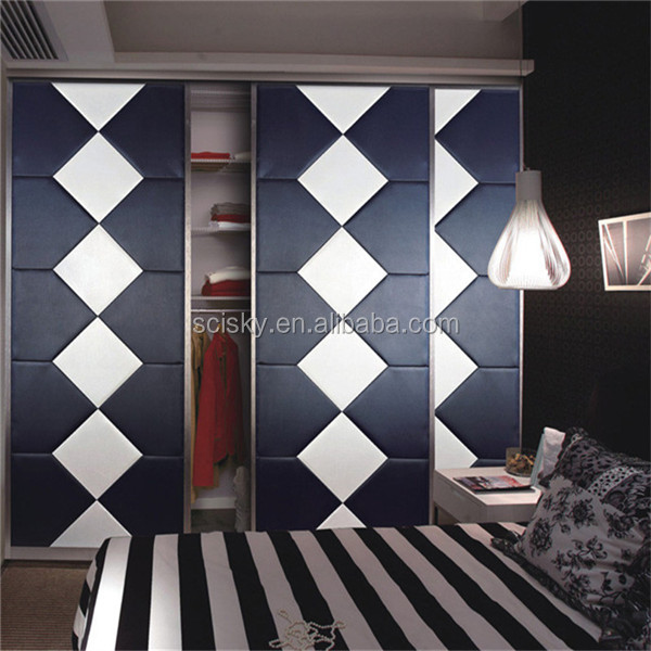 Luxury Style Wardrobe Sliding Door PU Leather for Bedroom Interior Modern Furniture Leather