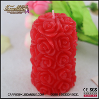 Pretty wedding favor red rose pillar candle