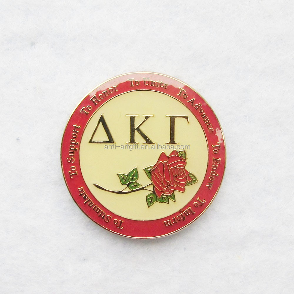 Custom design hard enamel metal badges with green leaf gold plated rose pins high quality