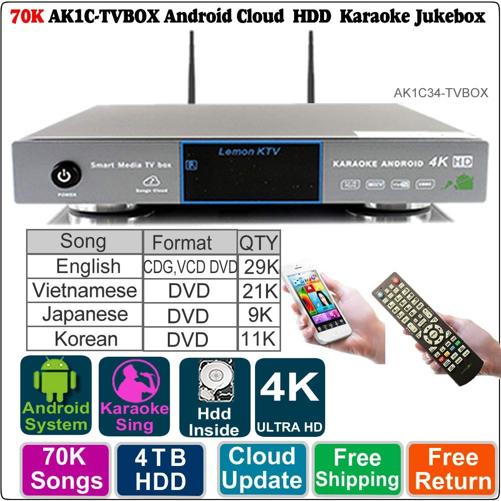 Get Quotations 4TB HDD 70K EnglishVietnamese Japanese And Korean Songs Andoid Karaoke Player Jukebox