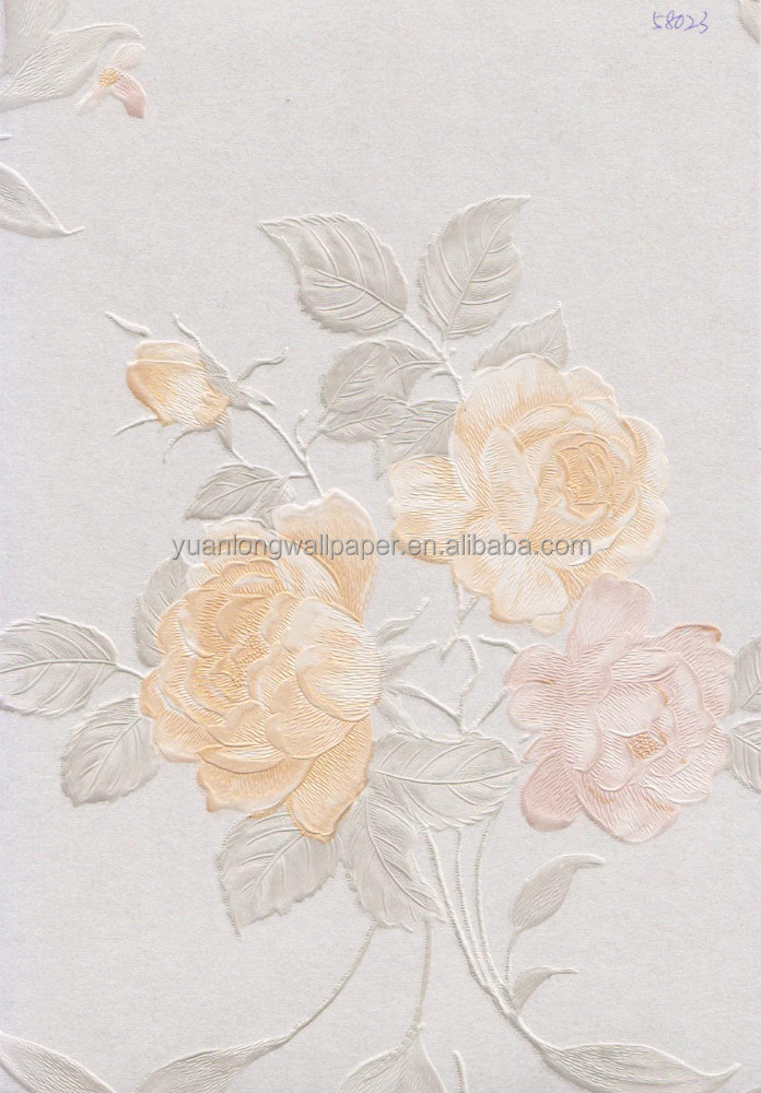 53CM 58023 EDWARD 3d pvc flower non-woven wall paper for home or hotel decoration
