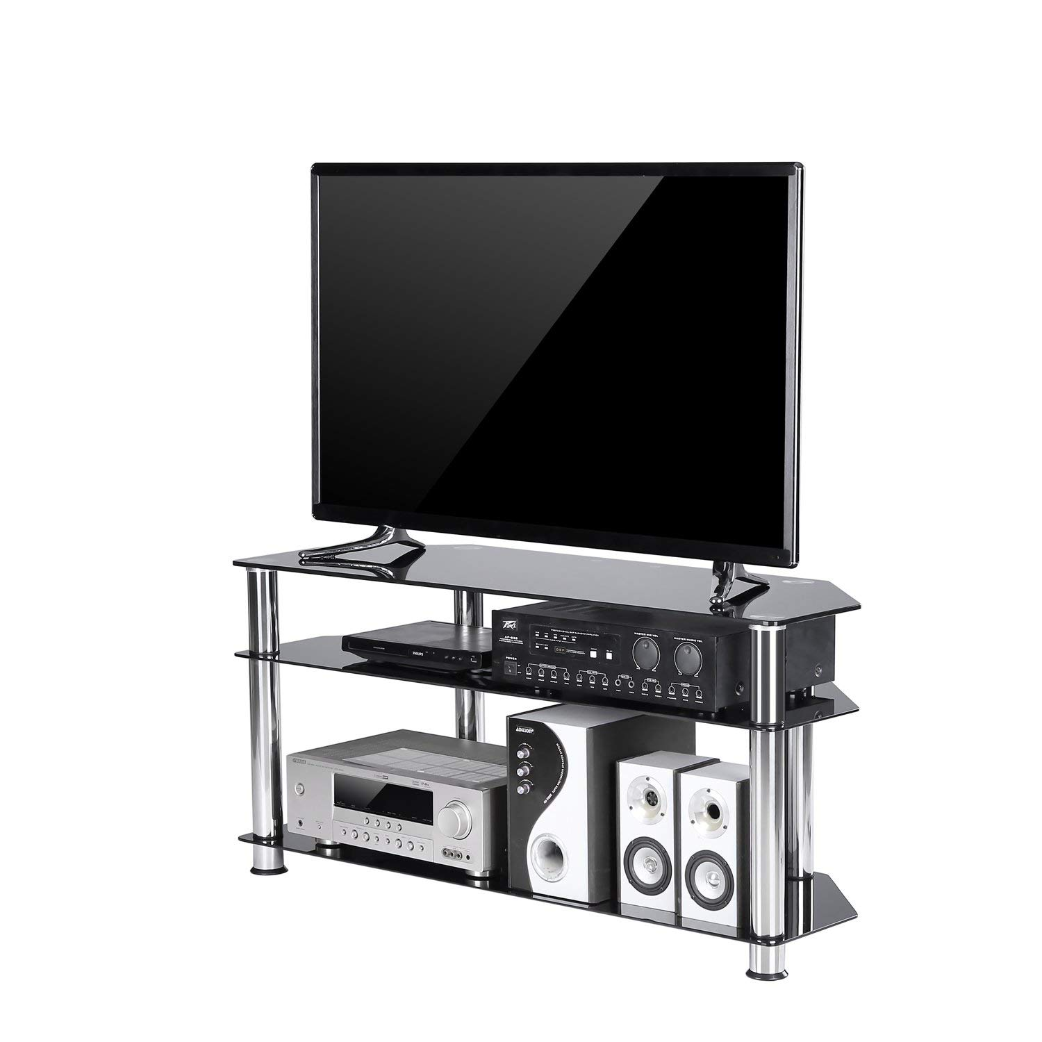 f3932655a95d Get Quotations · TAVR Black Tempered Glass Corner TV Stand Cable Management  Suit for up to 50 inch LCD