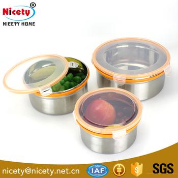 Large Capacity Kitchen Waterproof Round Storage 304 Stainless Steel