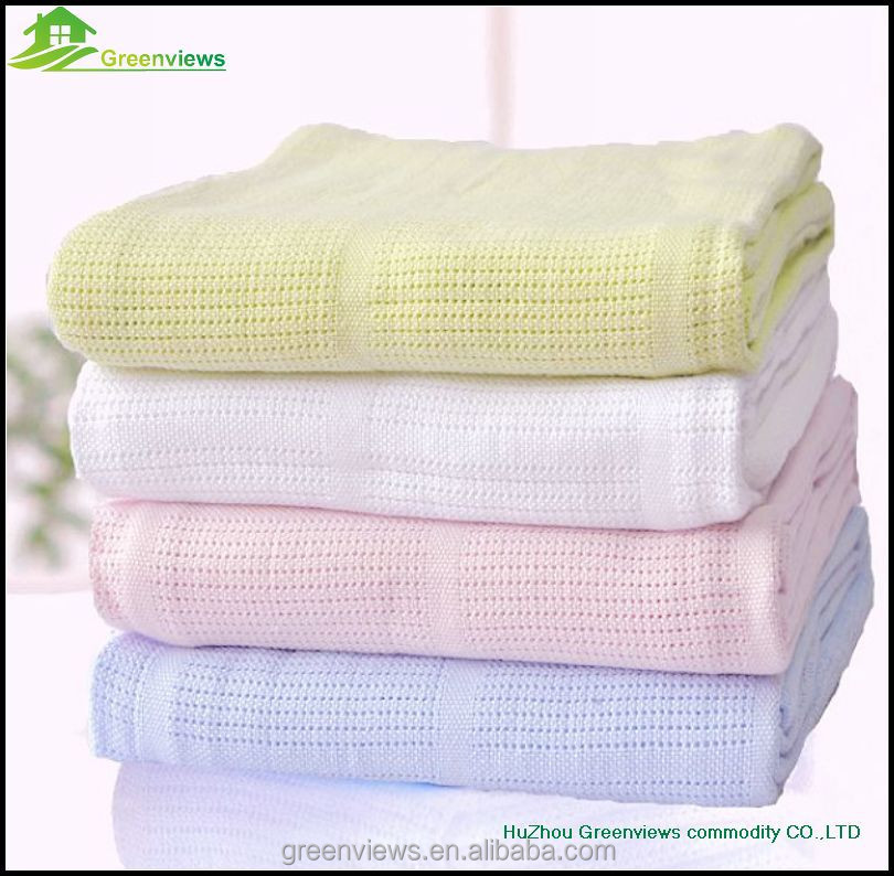 Bamboo organic cotton baby blanket High Quality White Cotton Waffle Hospital Blanket