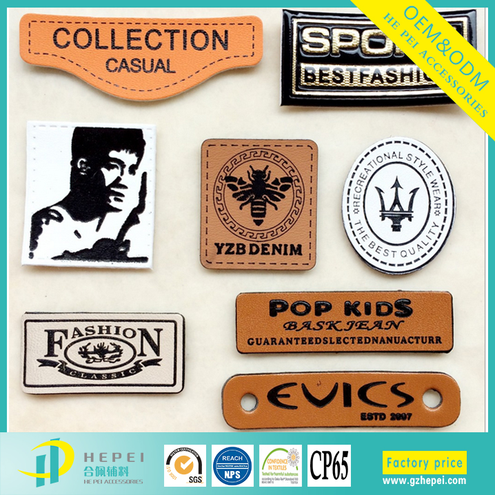 Personalized designer pu leather labels for garment