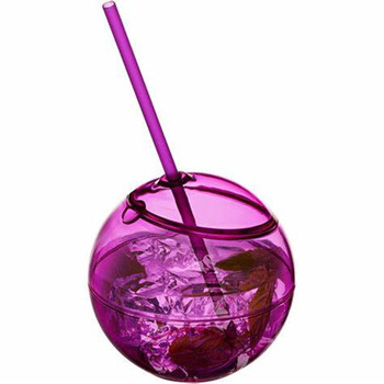 500ml Ball shape plastic drinking cups with straws