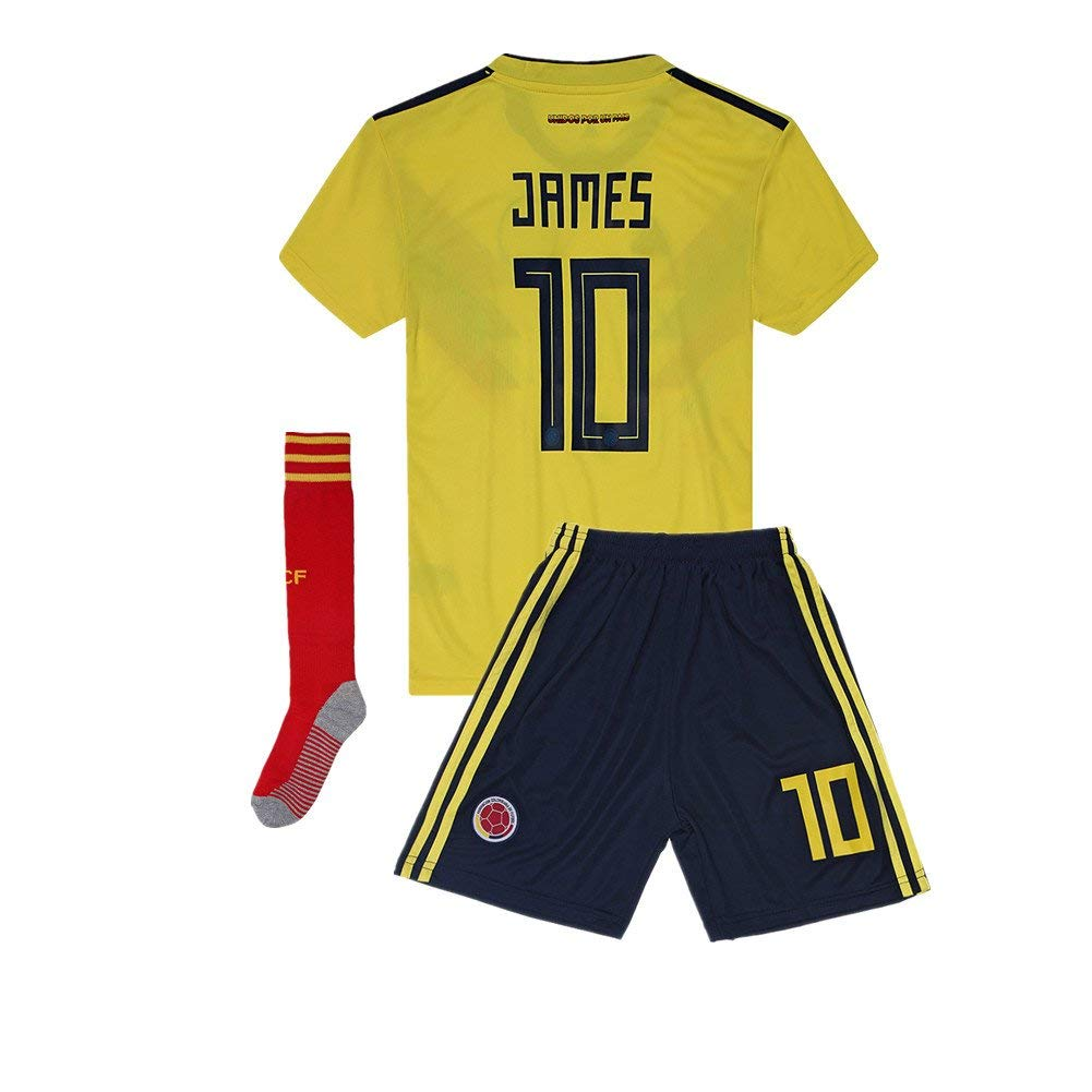 232e6573224 Get Quotations · 2018 Russia World Cup Colombia  10 James National Team Home  Kids Or Youth Soccer Jersey