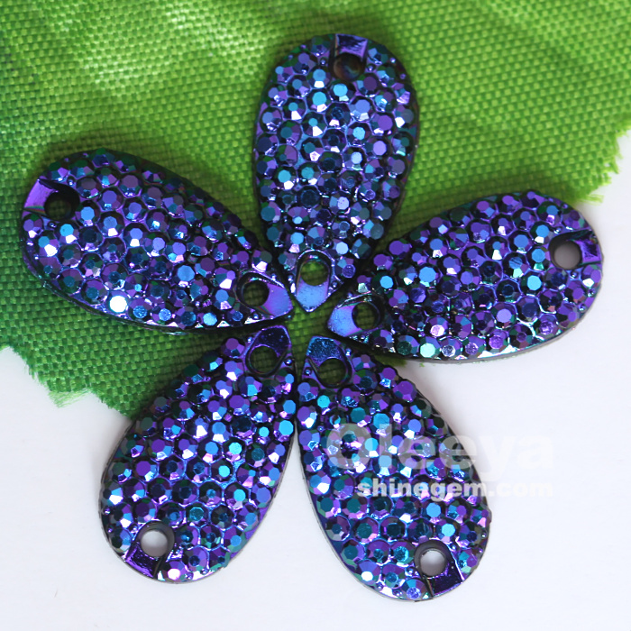 Style Awards 28*16mm Sapphire AB color teardrop acrylic rhinestones flat back for Prom Dresses