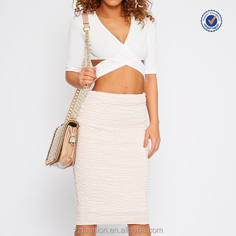 Fashionable white deep V neck ladies cross over crop tops and skirts