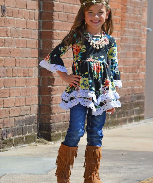 fashion style pattern lace ruffle grils dress boutique clothes kids clothing sets