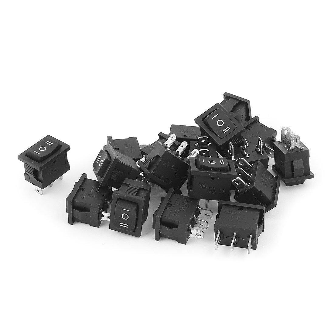 uxcell SPDT 3 Terminals 3 Position Rocker Switch AC 250V 6A AC125V 10A 18pcs