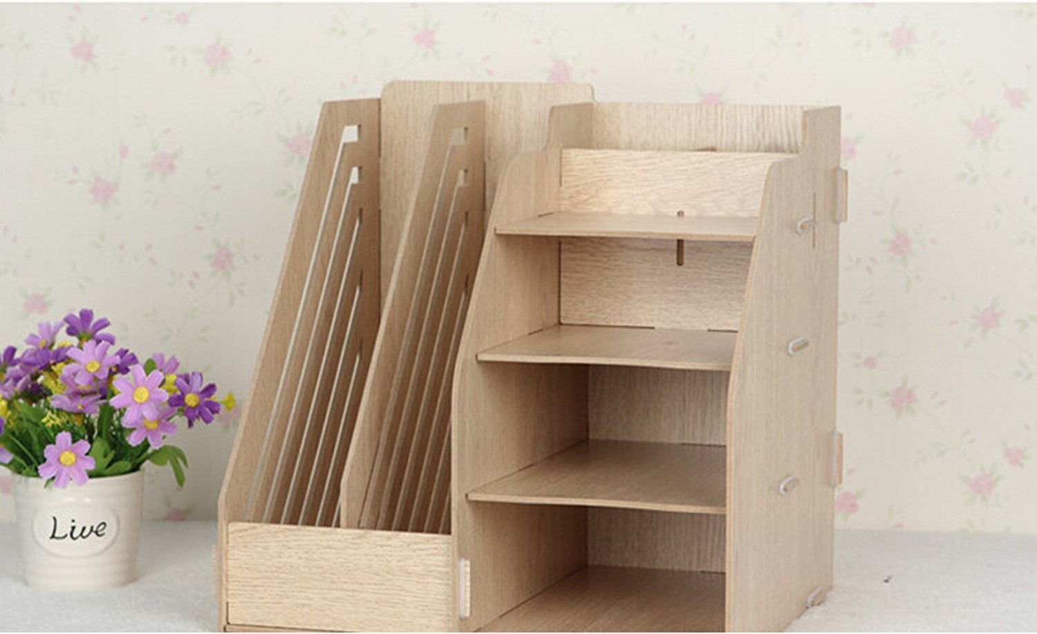 Multifunctional Wooden Creative Home Office File Shelf Storage Box (Oak)