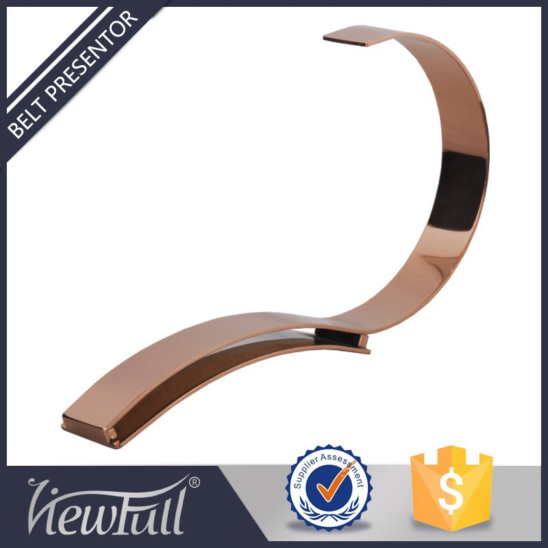 Elegant shinny rose gold stainless steel retail <strong>display</strong> props for fashion store <strong>display</strong> of belts BN-618PRG
