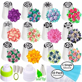 Russian Piping Tips Russian Nozzles for Cake & Cupcake Icing Decorating 26-Pcs Russian Tips Set Complete with Leaf Tip (12 Russi