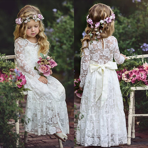 2018 Wholesale Children white Dress Wedding flower girl dresses Long Sleeves Lace girls party dresses