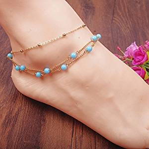 Azury Copper Bead Multilayer Barefoot Sandals, Beaded Barefoot Sandals, Beach Wedding Barefoot Sandal,Bridal Barefoot Sandals, Footless Sandals,Sandals,Anklet, Bridal Shoes,