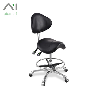 Triumph Black Swivel Adjustable Barber Stools New Saddle Seat Beauty Salon Stool Design Dentist Chair
