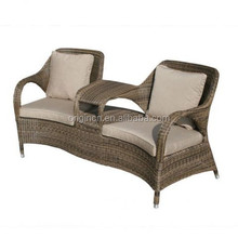 2 seater uk style rattan outdoor balcony sectional love seat with tea table living room furniture sofa