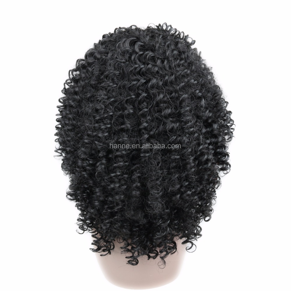Afro Kinky Curly Wig Heat Resistant Fiber With Bangs Black Color Jerry Curly Wigs