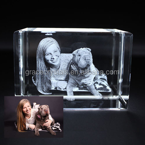 Photo 3D incisione laser di cristallo blocco incisione 3D photo frame