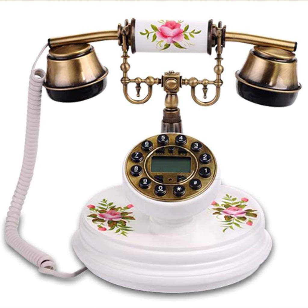 MY Neo-Classical Court Style European Retro Solid Wood Telephone Pastoral Style Caller ID Pure Hand-Painted Craft Home Office Bedroom Landline (Color : White)