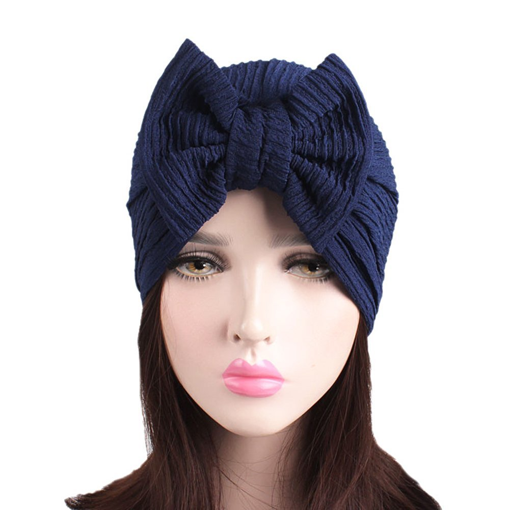 25c65380e37 Get Quotations · EUBUY Women Vintage Knitted Turban Hat Winter Warm Flowers  and Bling Sequins Beanie Turban Head Wrap