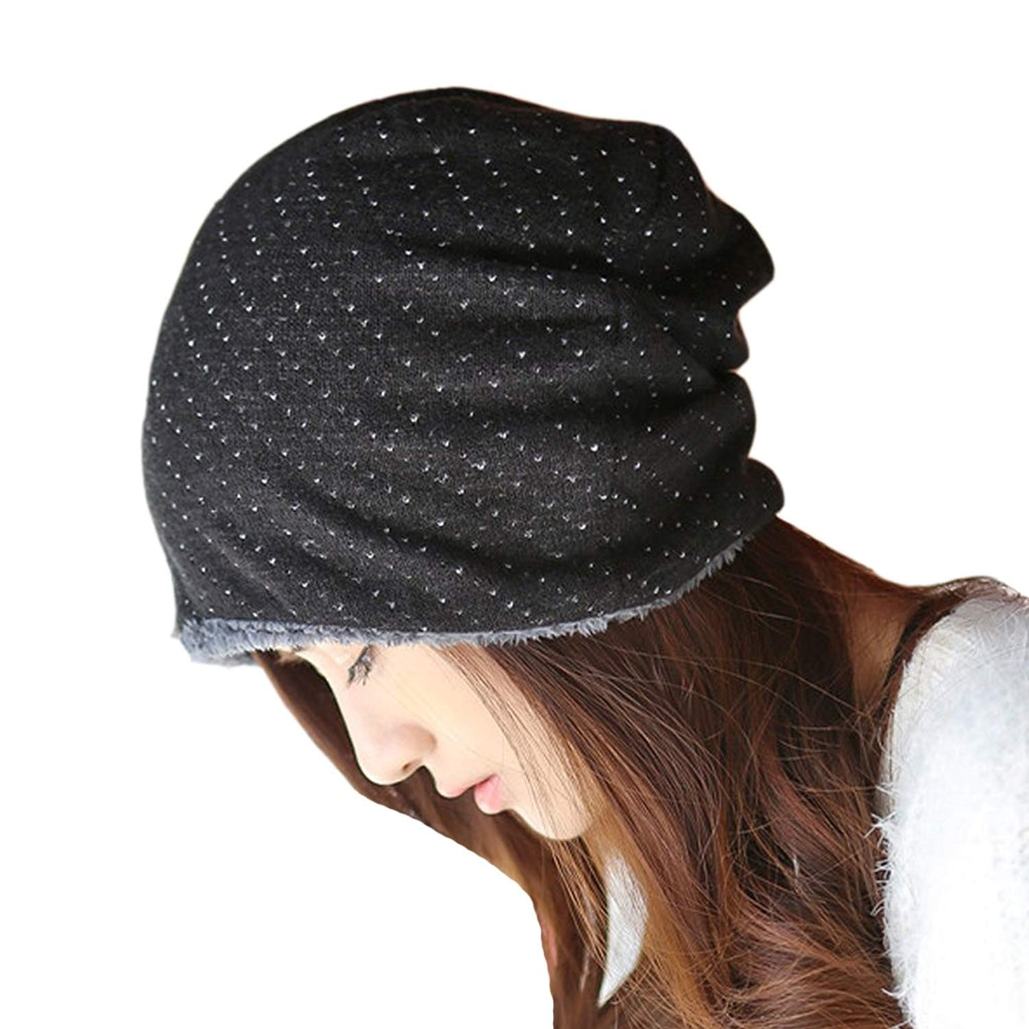 0326a147634 Get Quotations · Women s Winter Thicken Fur Lined Polka Dot Knit Skull Ski Hat  Cap Ear Warmer