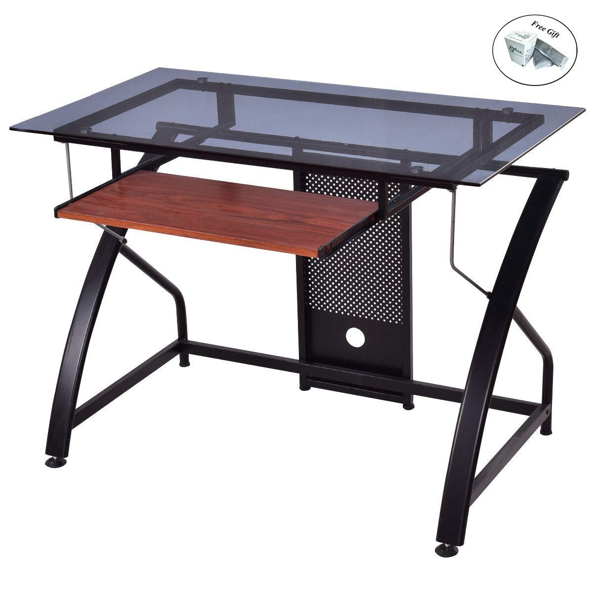 Computer Desk Glass Top PC Laptop Table Workstation Pull-Out Keyboard Tray Only by eight24hours