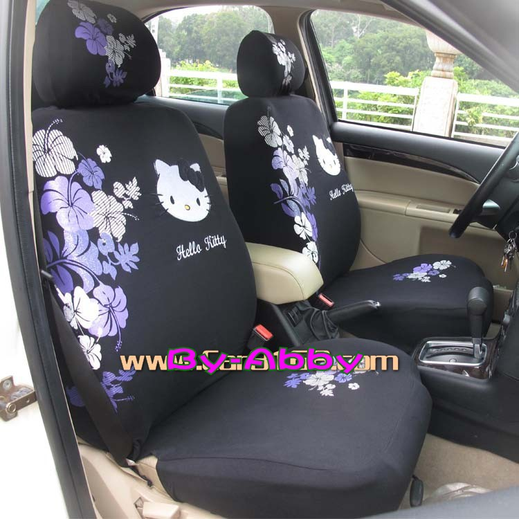 Purple Flowers Hello Kitty Car Seat Covers Accessories