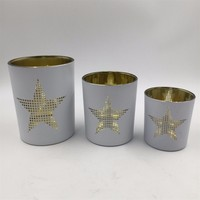 Christmas series white glass candle holder with star patternm for table centerpiece