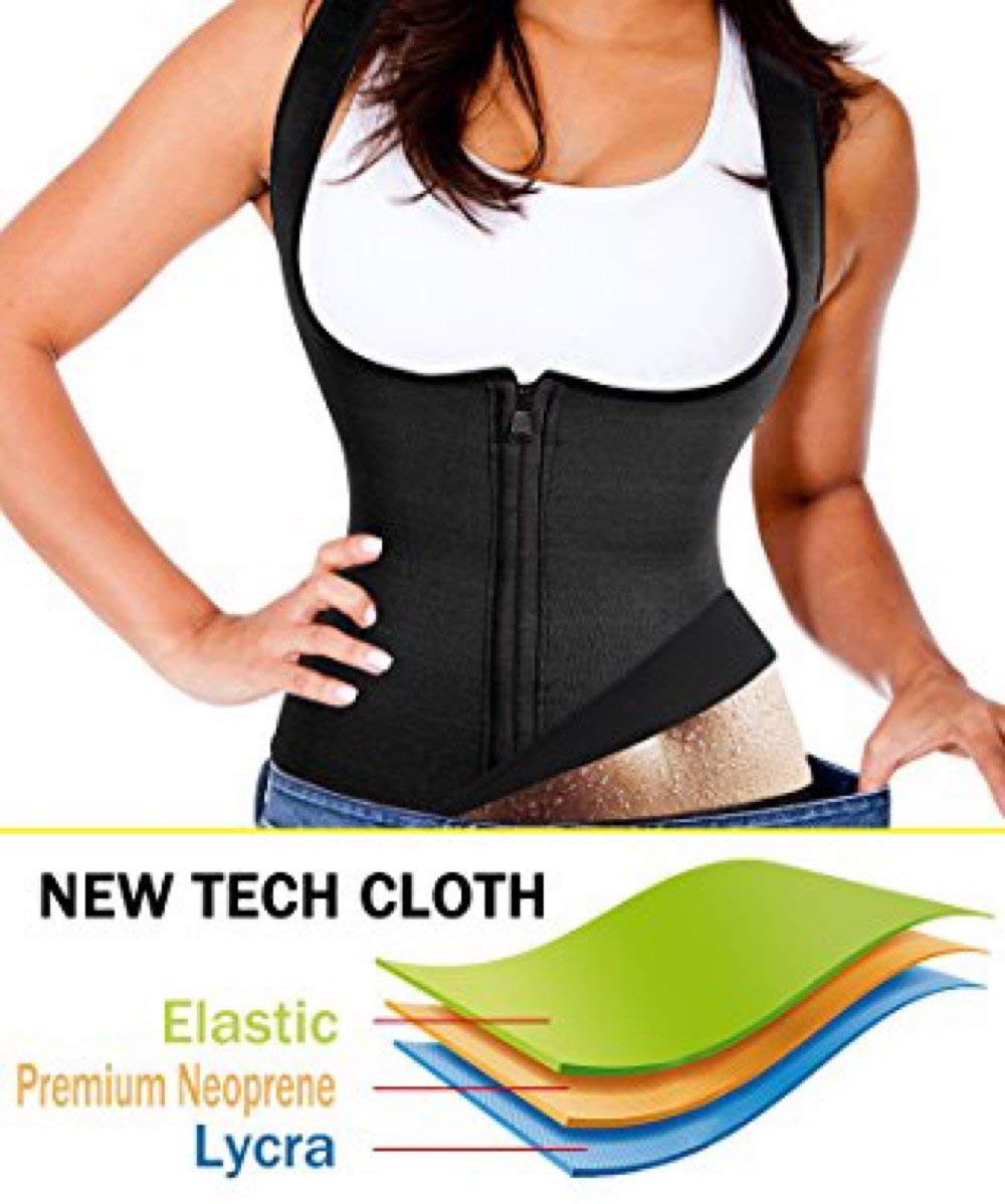 Waist Trainer Vest For Women Corset with Zipper Weight Loss Body Shaper Cincher Sauna Sweat Tank Top Workout Girdle