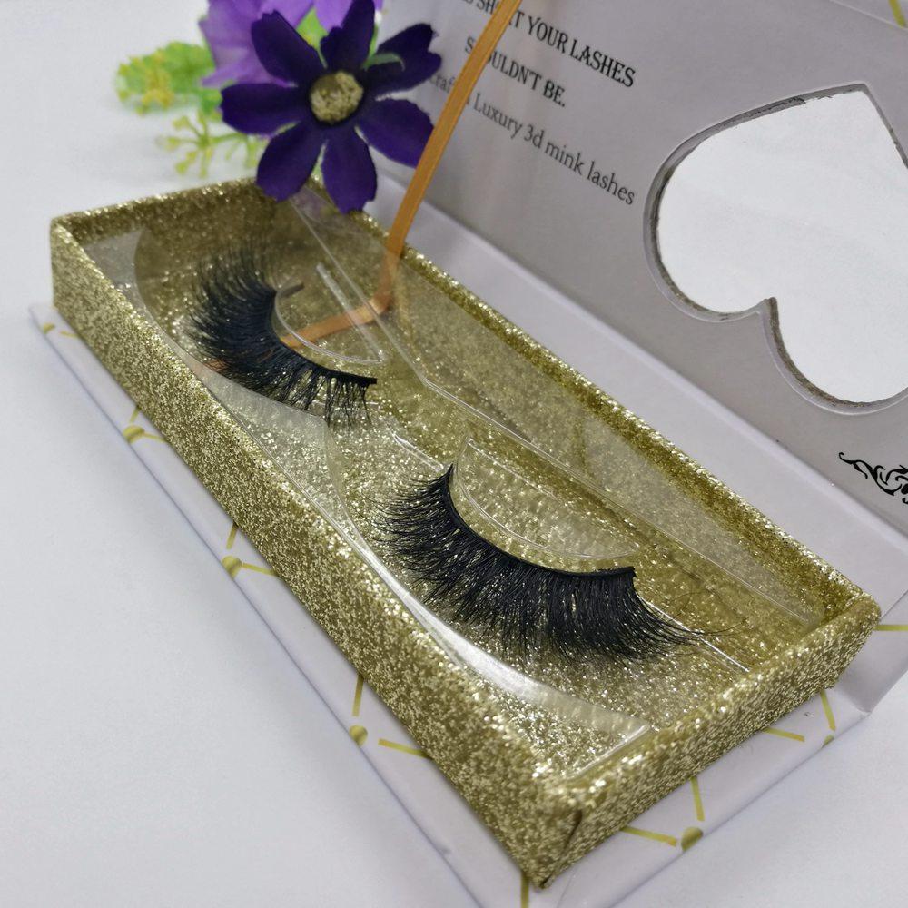 Best Lashes Vendor 3d Mink Fur False Eyelash Gold Glitter Lash Box High Quality Faux Mink Eyelashes, Natural black