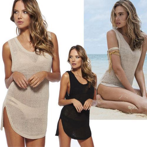 Женщины в лето сексуальный полые вязка крючком купальный костюм бикини крышка вверх пляж платье