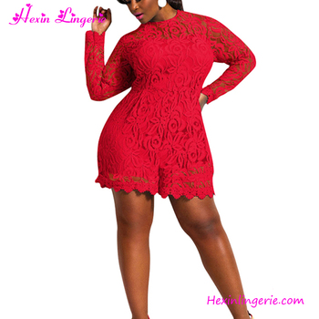 885af8bedfe Cheap plus size red long sleeve sexy lace short jumpsuits for ladies
