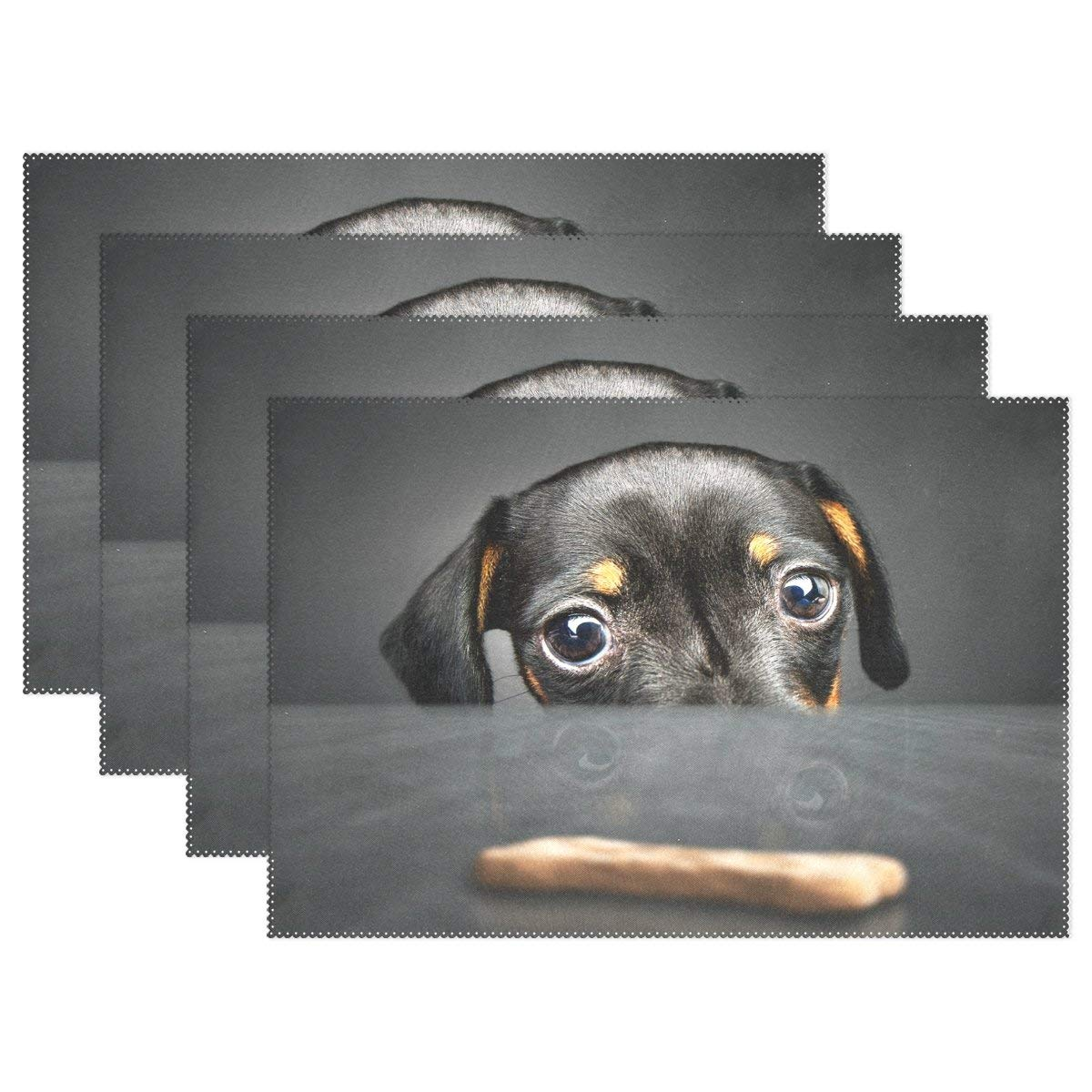 """WOZO Hipster Dachshund Puppy Dog Placemat Table Mat, Dog 12"""" x 18"""" Polyester Table Place Mat for Kitchen Dining Room Set of 4"""