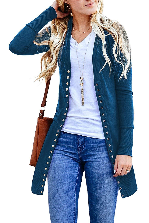 10d184c51a Get Quotations · Huiyuzhi Womens Cardigan Sweater Button Down V-Neck Long  Sleeve Soft Basic Knit Snap Cardigan