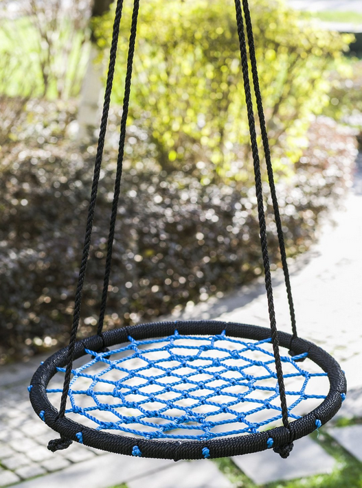 Pe round rope outdoor nest garden swing seat for kids for Round porch swing