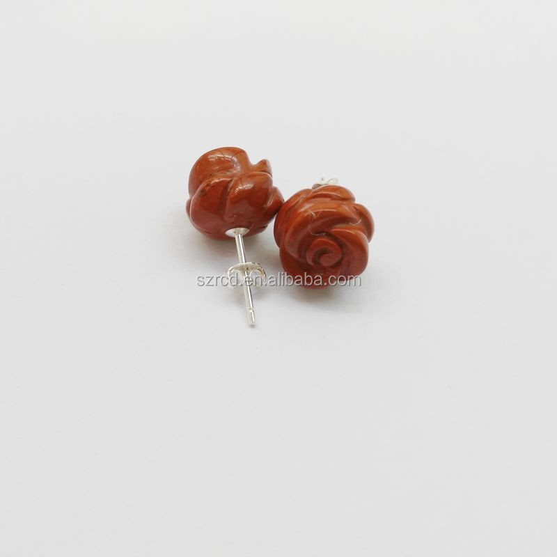 925 silver gemstone rose flower ear red jasper stone earring