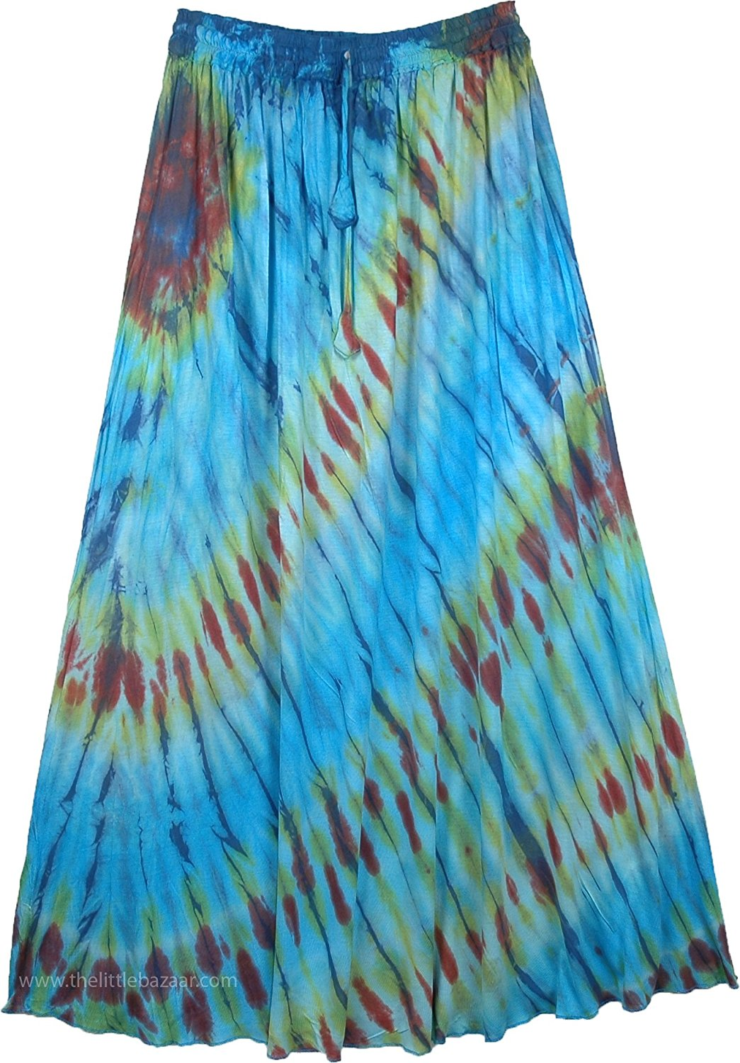 "TLB Women`s Maxi Skirt Tie Dye In Beautiful Blue - L:39""; W:28""-36"""