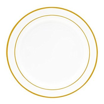 Plastic Plates Set Gold Dinnerware PS Plates for Party