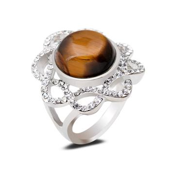 top class natural tiger eye stone gem rings platinum plating large