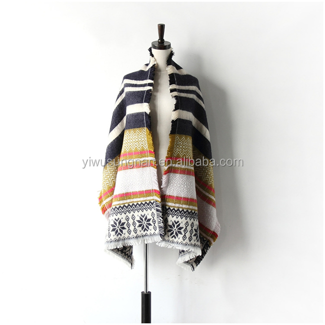 Women's Plaid Blanket Winter Scarf Warm Cozy checked Wrap Oversized Shawl