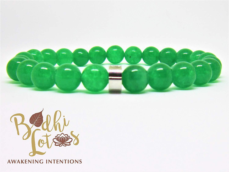 Genuine Green Jade Bracelet Heart Chakra Bracelet Green Stone Bracelet Green Jade Yoga Mala Green Jade Yoga & Meditation Bracelet Green Jade