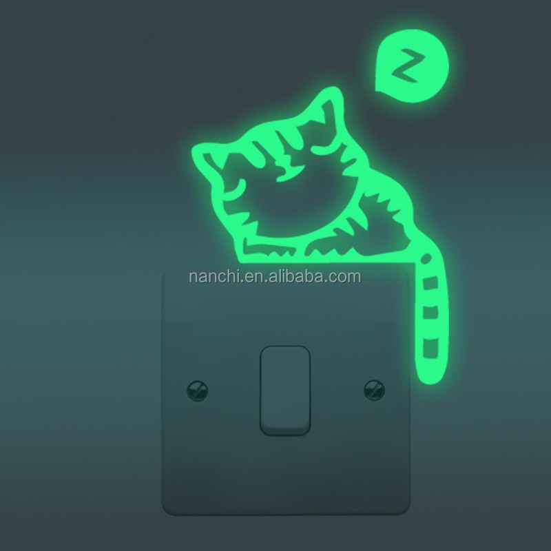 DIY Cats Switch Sticker Glow In The Dark Decor Wall Stocker Home Decoration Wallpaper For Bedroom Living Room Wall Decor